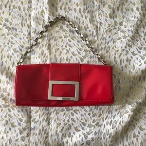 Alfani Red Leather Evening Bag. Silver hardware